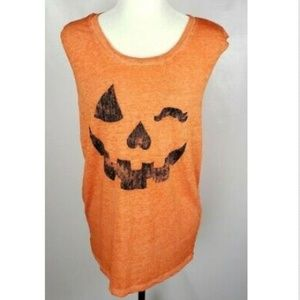 Fifth Sun Winking Pumpkin Tank Top T-Shirt XL Soft